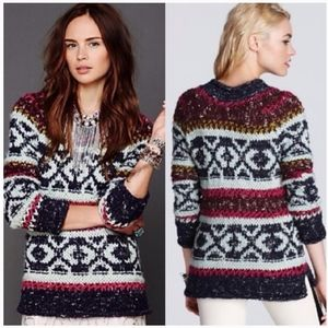 Free People Silver Reed Fair Aisle Print Sweater S